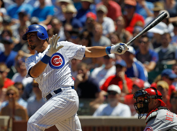 CHICAGO - JULY 03: Geovany Soto #18 of the Chicago Cubs hits a run scoring double in the 6th inning against the Cincinnati Reds at Wrigley Field on July 3, 2010 in Chicago, Illinois. The Cubs defeated the Reds 3-1. (Photo by Jonathan Daniel/Getty Images)