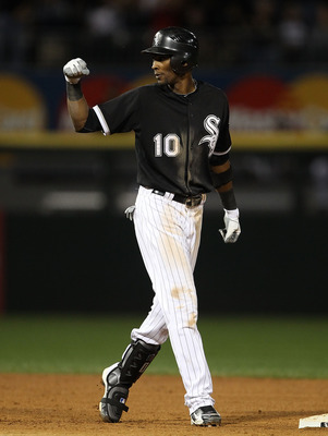 CHICAGO - SEPTEMBER 14: Alexei Ramirez #10 of the Chicago White Sox celebrates hitting a two-run single in the 5th inning against the Minnesota Twins at U.S. Cellular Field on September 14, 2010 in Chicago, Illinois. (Photo by Jonathan Daniel/Getty Images