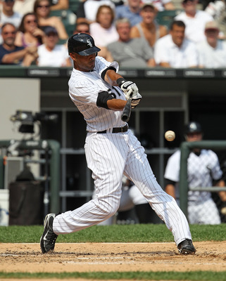 CHICAGO - AUGUST 29: Alex Rios #51 of the Chicago White Sox hits the ball against the New York Yankees at U.S. Cellular Field on August 29, 2010 in Chicago, Illinois. The Yankees defeated the White Sox 2-1. (Photo by Jonathan Daniel/Getty Images)