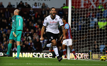 BIRMINGHAM, ENGLAND - FEBRUARY 05:  Clint Dempsey of Fulham celebrates his goal during the Barclays Premier League match between Aston Villa and Fulham at Villa Park on February 5, 2011 in Birmingham, England.  (Photo by Matthew Lewis/Getty Images)