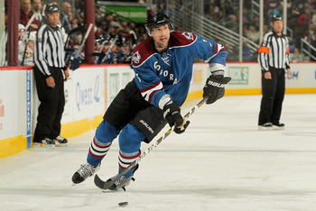 DENVER, CO - JANUARY 20:  Ryan O'Byrne #3 of the Colorado Avalanche controls the puck against the Nashville Predators at the Pepsi Center on January 20, 2011 in Denver, Colorado. The Predators defeated the Avalanche 5-1.  (Photo by Doug Pensinger/Getty Im