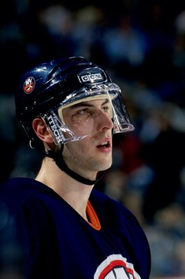 13 Feb 1999:  Zdeno Chara #3 of the New York Islanders looks on during the game against the Buffalo Sabres at the Marine Midland Arena in Buffalo, New York. The Islanders tied the Sabres 2-2. Mandatory Credit: Rick Stewart  /Allsport
