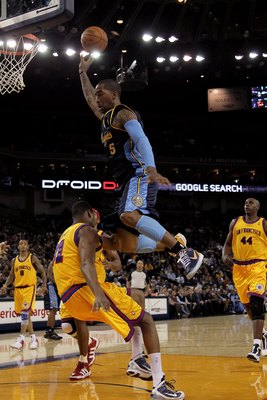 OAKLAND, CA - JANUARY 20:  J.R. Smith #5 of the Denver Nuggets in action during their game against the Golden State Warriors at Oracle Arena on January 20, 2010 in Oakland, California.  NOTE TO USER: User expressly acknowledges and agrees that, by downloa