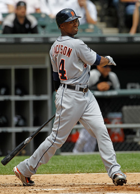 CHICAGO - JUNE 10: Austin Jackson #14 of the Detriot Tigers takes a swing against the Chicago White Sox at U.S. Cellular Field on June 10, 2010 in Chicago, Illinois. The White Sox defeated the Tigers 3-0. (Photo by Jonathan Daniel/Getty Images)