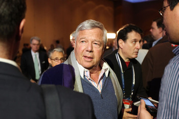 DALLAS, TX - FEBRUARY 04:  Owner of the New England Patriots Robert Kraft speaks to reporters during a press conference with NFL commissioner Roger Goodell at the Super Bowl XLV media center on February 4, 2011 in Dallas, Texas. The Green Bay Packers will