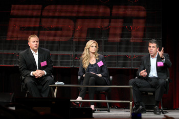 PASADENA, CA - JANUARY 05: (L-R)Broadcasters Kirk Herbstreit, Erin Andrews and Chris Fowler speak onstage during the 'BCS Title Game' panel at the ESPN portion of the 2011 Winter TCA press tour held at the Langham Hotel on January 5, 2011 in Pasadena, Cal