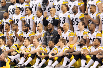 ARLINGTON, TX - FEBRUARY 01:  Members of the Pittsburgh Steelers pose for a team photo during Super Bowl XLV Media Day ahead of Super Bowl XLV at Cowboys Stadium on February 1, 2011 in Arlington, Texas. The Pittsburgh Steelers will play the Green Bay Pack