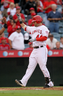 ANAHEIM, CA - SEPTEMBER 8: Mike Napoli #44 of the Los Angeles Angels of Anaheim celebrates as he crosses home after his two run home run in the fifth inning against the Cleveland Indians on September 8, 2010 at Angel Stadium in Anaheim, California.  (Phot