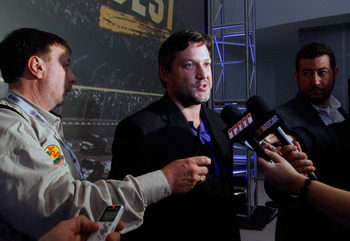 CHARLOTTE, NC - JANUARY 26:  Tony Stewart, driver of the #14 Office Depot Chevrolet, speaks with the media during the NASCAR Sprint Media Tour hosted by Charlotte Motor Speedway, held at the NASCAR Hall of Fame on January 26, 2011 in Charlotte, North Caro