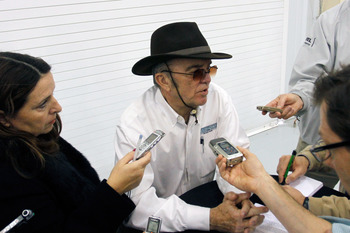 CONCORD, NC - JANUARY 27:  Team owner Jack Roush speaks to the media during the NASCAR Sprint Media Tour hosted by Charlotte Motor Speedway, held at the Roush-Fenway hanger of Concord Regional Airport, on January 27, 2011 in Concord, North Carolina.  (Pho