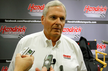 CONCORD, NC - JANUARY 26:  Team owner Rick Hendrick, speaks with the media during the NASCAR Sprint Media Tour hosted by Charlotte Motor Speedway, held at Hendrick Motorsports on January 26, 2011 in Concord, North Carolina.  (Photo by Jason Smith/Getty Im