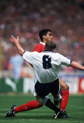 18 May 1991:  Paul Gascoigne of Tottenham Hotspur tackles Gary Charles of Nottingham Forest and comes off worse injuring himself and never really regaining his form from making this challenge during the FA Cup Final played at Wembley Stadium, in London.To