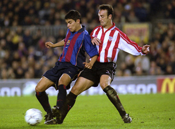 24 Nov 2001: Saviola of Barcelona and Lacruz of Athletic Bilbao in action during the Spanish Primera League match played between  Barcelona and Athletic Bilbao. DIGITAL IMAGE. Mandatory Credit: Firo Foto/ALLSPORT