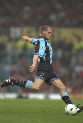 16 May 1997:  Paul Gascoigne in action, playing for Coventry for the David Busst Testimonial match against Manchester United at Highfield Road in Coventry, England. \ Mandatory Credit: Craig Prentis /Allsport