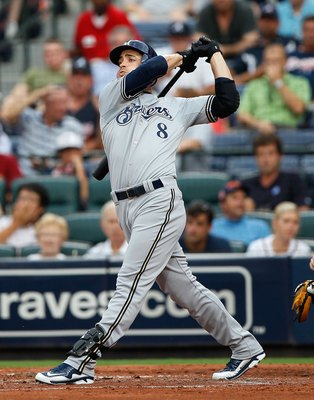 ATLANTA - JULY 15:  Ryan Braun #8 of the Milwaukee Brewers against the Atlanta Braves at Turner Field on July 15, 2010 in Atlanta, Georgia.  (Photo by Kevin C. Cox/Getty Images)
