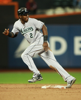 NEW YORK - AUGUST 25:  Hanley Ramirez #2 of the Florida Marlins watches the ball as he successfully steals second and third base in the third inning on August 25, 2010 at Citi Field in the Flushing neighborhood of the Queens borough of New York City.  (Ph