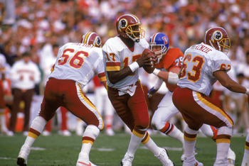 SAN DIEGO - JANUARY 31:  Quarterback Doug Williams #17 of the Washington Redskins drops back to pass during Super Bowl XXII against the Denver Broncos at Jack Murphy Stadium on January 31, 1988 in San Diego, California.  The Redskins won 42-10.  (Photo by
