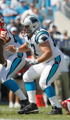 CHARLOTTE, NC - OCTOBER 05:  Ryan Kalil #67 of the Carolina Panthers guards the line during the game against the Kansas City Chiefs at Bank of America on October 5, 2008 in Charlotte, North Carolina.  (Photo by Kevin C. Cox/Getty Images)