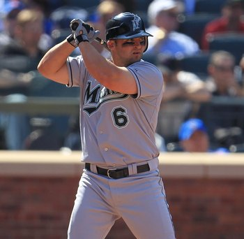 NEW YORK - APRIL 05: Dan Uggla #6 of the Florida Marlins bats against the New York Mets during their Opening Day game at Citi Field on April 5, 2010 in the Flushing neighbourhood of the Queens borough of New York City.  (Photo by Chris McGrath/Getty Image
