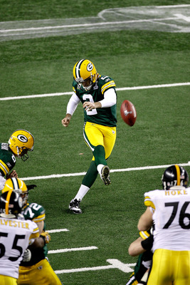 ARLINGTON, TX - FEBRUARY 06:  Mason Crosby #2  of the Green Bay Packers kicks a field goal during the fourth quarter of Super Bowl XLV at Cowboys Stadium on February 6, 2011 in Arlington, Texas.  (Photo by Rob Carr/Getty Images)