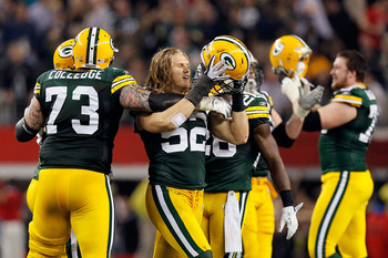 ARLINGTON, TX - FEBRUARY 06: Clay Matthews #52 of the Green Bay Packers celebrates with teammates late in the game against the Pittsburgh Steelers during Super Bowl XLV at Cowboys Stadium on February 6, 2011 in Arlington, Texas.  (Photo by Kevin C. Cox/Ge