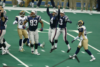 03 Feb 2002:  Adam Vinatieri #4 of the New England Patriots breaks  into celebration after kicking the game winning field goal against the St.Louis Rams during Superbowl XXXVI at the Superdome in New Orleans, Louisiana.  The Patriots defeated the Rams 20-