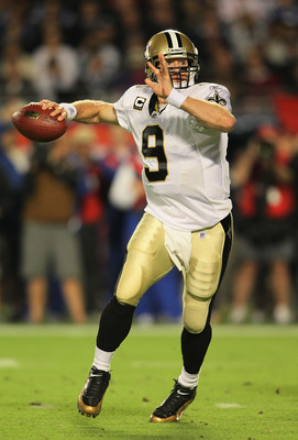 MIAMI GARDENS, FL - FEBRUARY 07:  Drew Brees #9  of the New Orleans Saints looks to pass against the Indianapolis Colts during Super Bowl XLIV on February 7, 2010 at Sun Life Stadium in Miami Gardens, Florida.  (Photo by Andy Lyons/Getty Images)