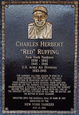 NEW YORK - MAY 02:  The plaque of Charles Ruffing is seen in Monument Park at Yankee Stadium prior to the game between the New York Yankees and the Chicago White Sox on May 2, 2010 in the Bronx borough of New York City. The Yankees defeated the White Sox