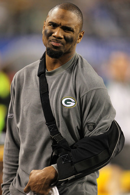 ARLINGTON, TX - FEBRUARY 06: Charles Woodson #21 of the Green Bay Packers looks on after leaving with an injury against the Pittsburgh Steelers during Super Bowl XLV at Cowboys Stadium on February 6, 2011 in Arlington, Texas.  (Photo by Jamie Squire/Getty