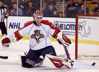 BOSTON, MA - JANUARY 26:  Tomas Vokoun #29 of Florida Panthers stops a shot in the first period against the Boston Bruins on January 26, 2011 at the TD Garden in Boston, Massachusetts.  (Photo by Elsa/Getty Images)