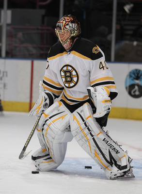 NEW YORK - NOVEMBER 17:  Tuukka Rask #40 of the Boston Bruins in action during warmups against the New York Rangers during their game on November 17, 2010 at Madison Square Garden in New York City, New York.  (Photo by Al Bello/Getty Images)