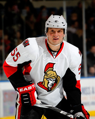 UNIONDALE, NY - FEBRUARY 05:  Sergei Gonchar #55 of the Ottawa Senators waits for a faceoff during an NHL hockey game against the New York Islanders at Nassau Coliseum on February 5, 2011 in Uniondale, New York.  (Photo by Paul Bereswill/Getty Images)