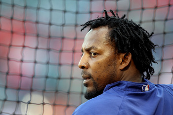 ARLINGTON, TX - OCTOBER 31:  Vladimir Guerrero #27 of the Texas Rangers looks on during batting practice against the San Francisco Giants in Game Four of the 2010 MLB World Series at Rangers Ballpark in Arlington on October 31, 2010 in Arlington, Texas.