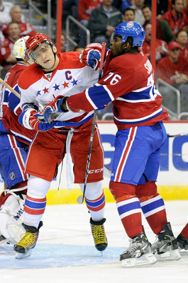 WASHINGTON, DC - FEBRUARY 01:  P.K. Subban #76 of the Montreal Canadiens is called for a roughing penalty against Alex Ovechkin #8 of the Washington Capitals at the Verizon Center on February 1, 2011 in Washington, DC.  (Photo by Greg Fiume/Getty Images)