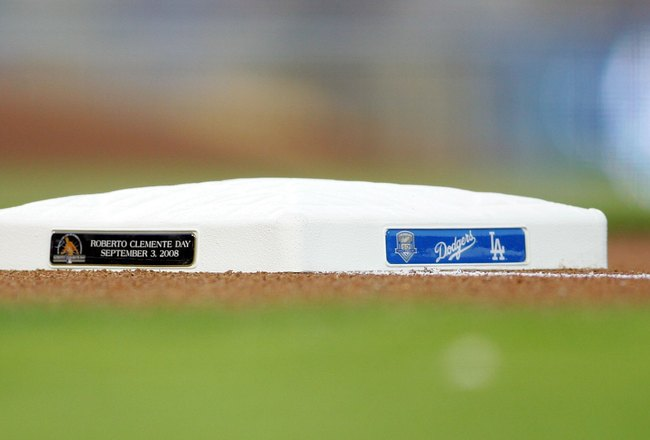 LOS ANGELES, CA - SEPTEMBER 03:  A detailed view of the first base bag with a sign tab commemorating 'Roberto Clemente Day' prior to the MLB game between the San Diego Padres and the Los Angeles Dodgers at Dodger Stadium on September 3, 2008 in Los Angele