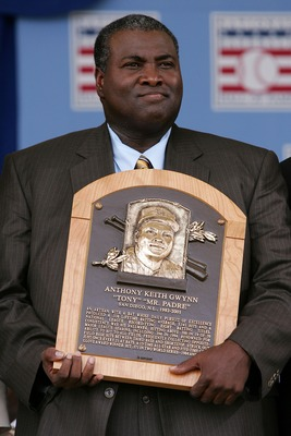 COOPERSTOWN, NY - JULY 29:  2007 inductee Tony Gwynn poses with his plaque after his speech at Clark Sports Center during the Baseball Hall of Fame induction ceremony on July 29, 2007 in Cooperstown, New York.   (Photo by Chris McGrath/Getty Images)