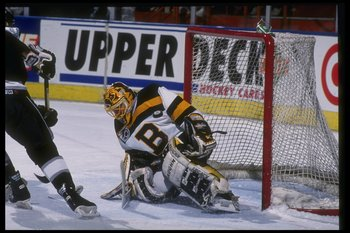 17 Feb 1992: Goaltender Andy Moog of the Boston Bruins on the ice during a game against the Los Angeles Kings at the Great Western Forum in Inglewood, California.