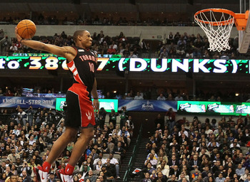 DALLAS - FEBRUARY 13:  DeMar DeRozan #10 of the Toronto Raptors goes up for a dunk during the Sprite Slam Dunk Contest on All-Star Saturday Night, part of 2010 NBA All-Star Weekend at American Airlines Center on February 13, 2010 in Dallas, Texas. NOTE TO