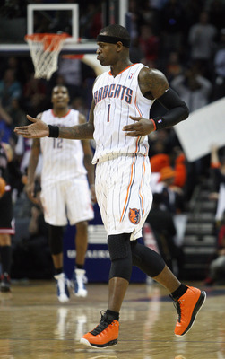 CHARLOTTE, NC - JANUARY 12:  Stephen Jackson #1 of the Charlotte Bobcats celebrates with teammates during their game against the Chicago Bulls at Time Warner Cable Arena on January 12, 2011 in Charlotte, North Carolina. NOTE TO USER: User expressly acknow