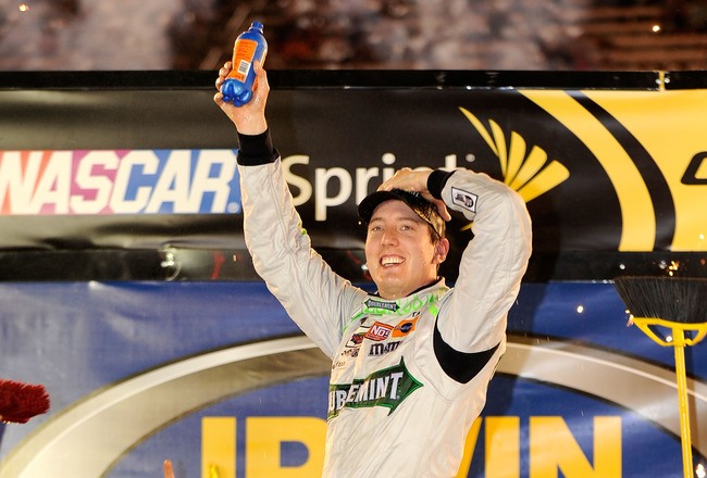 BRISTOL, TN - AUGUST 21:  Kyle Busch, driver of the #18 Doublemint Toyota, celebrates in Victory Lane after winning the NASCAR Sprint Cup Series IRWIN Tools Night Race at Bristol Motor Speedway on August 21, 2010 in Bristol, Tennessee.  (Photo by Rusty Ja