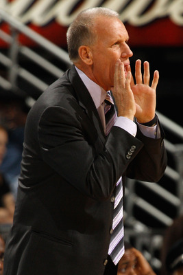 NEW ORLEANS, LA - JANUARY 03:  Head coach Doug Collins of the Philadelphia 76ers calls out in the first half against the New Orleans Hornets at New Orleans Arena on January 3, 2011 in New Orleans, Louisiana. NOTE TO USER: User expressly acknowledges and a