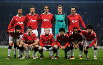 MANCHESTER, ENGLAND - DECEMBER 07:  The Manchester United players line up for a team photo prior to the UEFA Champions League Group C match between Manchester United and Valencia at Old Trafford on December 7, 2010 in Manchester, England.  (Photo by Clive