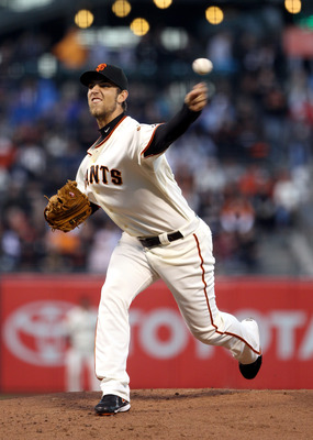 SAN FRANCISCO - AUGUST 31:  Madison Bumgarner #40 of the San Francisco Giants pitches against the Colorado Rockies at AT&amp;T Park on August 31, 2010 in San Francisco, California.  (Photo by Ezra Shaw/Getty Images)