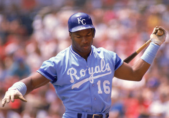 1989:  Bo Jackson #16 of the Kansas City Royals practices his swing as he prepares to bat during a game in the 1989 season.  (Photo by Jonathan Daniel/Getty Images)