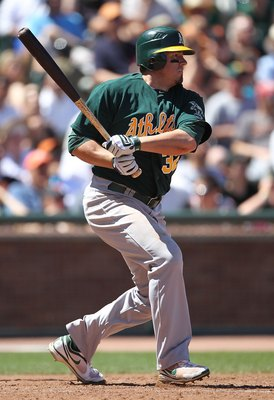 SAN FRANCISCO - JUNE 13:  Jack Cust #32 of the Oakland Athletics bats against the San Francisco Giants during an MLB game at AT&T Park on June 13, 2010 in San Francisco, California.  (Photo by Jed Jacobsohn/Getty Images)