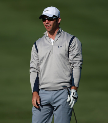 DOHA, QATAR - FEBRUARY 04:  Paul Casey of England smiles on the 15th hole during the second round of the Commercialbank Qatar Masters held at Doha Golf Club on February 4, 2011 in Doha, Qatar.  (Photo by Andrew Redington/Getty Images)