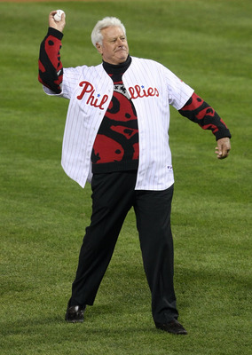 PHILADELPHIA - OCTOBER 21:  Dallas Greene throws out the first pitch before the Philadelphia Phillies take on the Los Angeles Dodgers in Game Five of the NLCS during the 2009 MLB Playoffs at Citizens Bank Park on October 21, 2009 in Philadelphia, Pennsylv