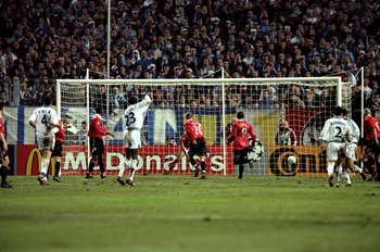 William Gallas celebrates his winner in the last game these two sides played at Stade Velodrome in October 1999
