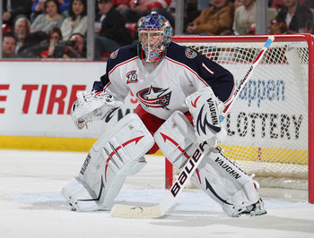 DETROIT, MI - FEBRUARY 4:  Steve Mason #1 of the Columbus Blue Jackets gets set to face one of the shots in a shut-out against the Detroit Red Wings on February 4, 2011 at the Joe Louis Arena in Detroit, Michigan. The Blue Jackets defeated the Wings 3-0.