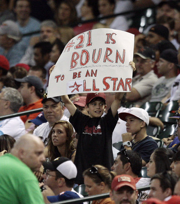 HOUSTON - JULY 09:  A young fan holds a sign showing support for Michael Bourn #21 of the Houston Astros going to the All-Star game, during the game against the St. Louis Cardinals on July 9, 2010 in Houston, Texas.  (Photo by Bob Levey/Getty Images)